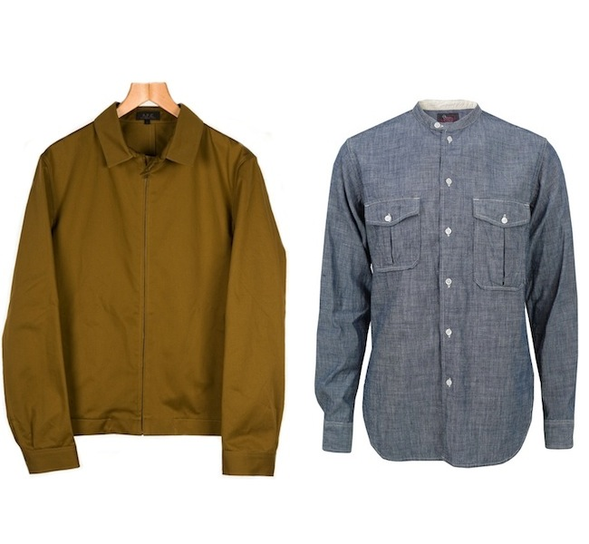 A.P.C Two Pocket Jacket | Woolrich Woolen Mills Chambray Banded Collar Shirt discount sale voucher promotion code | fashionstealer
