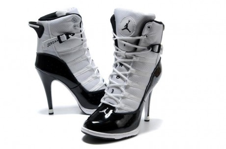 :: Women''s Air Jordan 6 Rings High Heels White Black ::