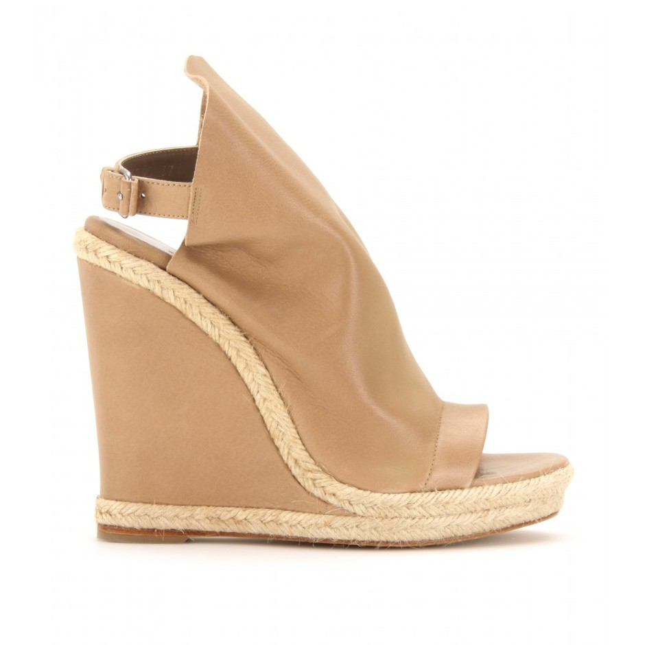 mytheresa.com - Balenciaga - GLOVE ESPADRILLE DETAILED LEATHER WEDGES - Luxury Fashion for Women / Designer clothing, shoes, bags