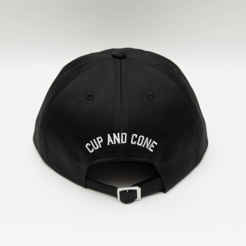 Six Panel Cap - Black - cup and cone WEB STORE
