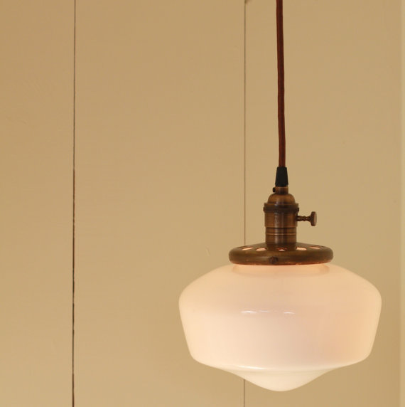 Hanging Light with White Glass Schoolhouse by lucentlampworks