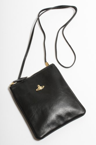VIVIENNE WESTWOOD 5693V Memphis Square Leather Holdall in Black - BAGS from Autograph UK