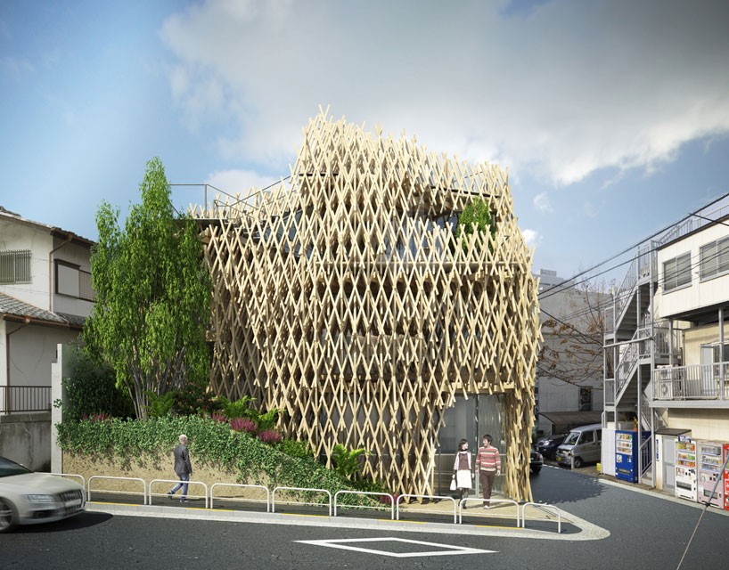 kengo kuma wraps sunny hills japan shop in wood
