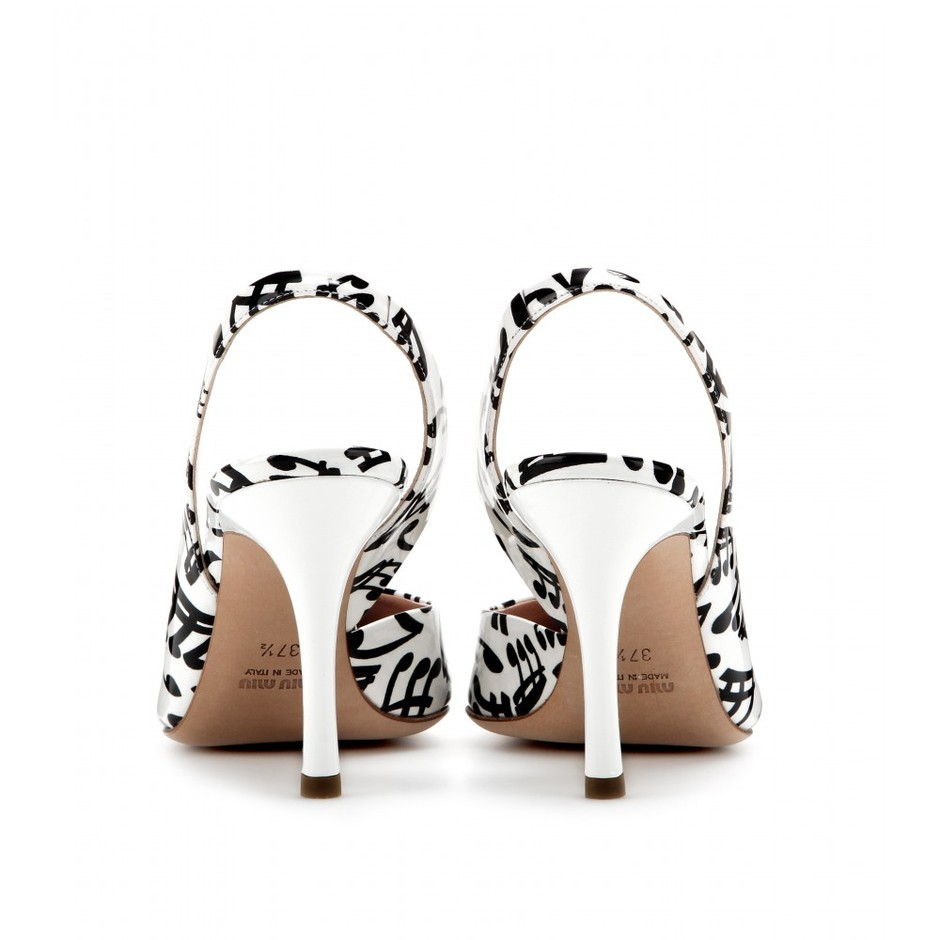 mytheresa.com - Printed patent-leather sling-back pumps - high heel - pumps - shoes - Luxury Fashion for Women / Designer clothing, shoes, bags