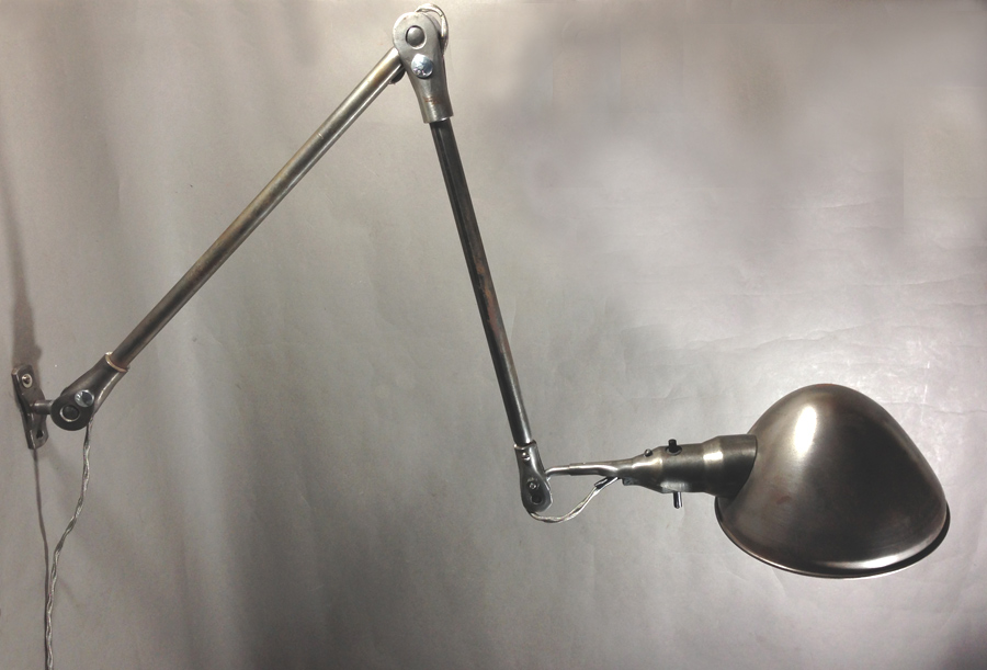 """Lighting&Electric - 1940's """"Solid Steel"""" Wall Mount Task Lamp - FUNNY SUPPLY □ Antiques ■"""