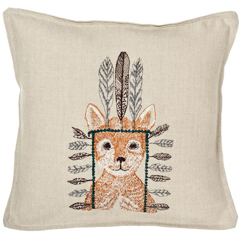 Coral and Tusk - fox portrait pillow