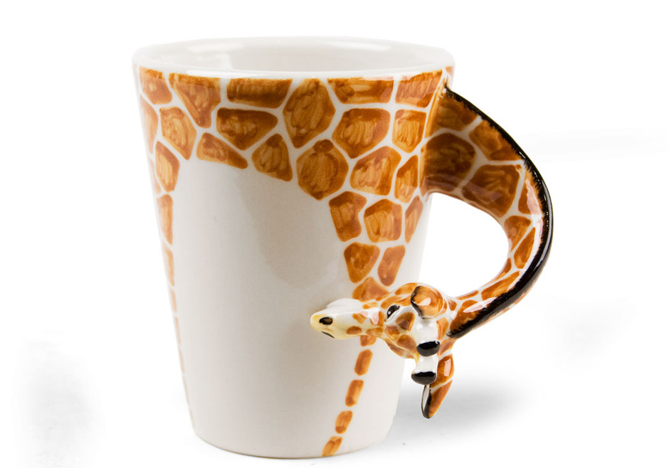 A Giraffe coffee mug, handmade by Blue Witch | A unique gift from CentralCrafts.Com