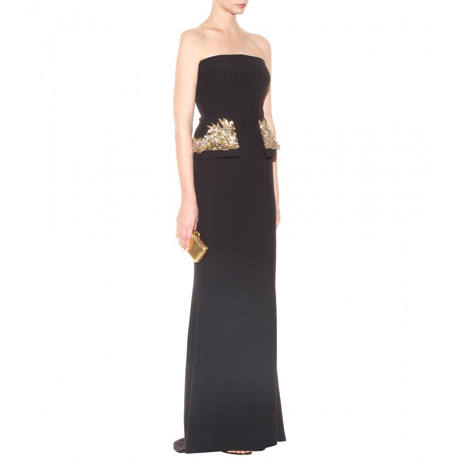 mytheresa.com - Embellished crepe peplum gown - gowns - dresses - clothing - Luxury Fashion for Women / Designer clothing, shoes, bags