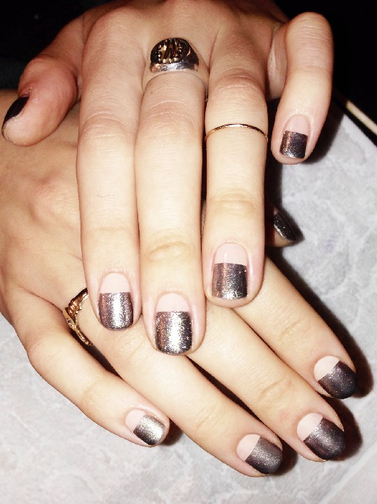 — Gorgeous chrome on matte nude nails using chanel...
