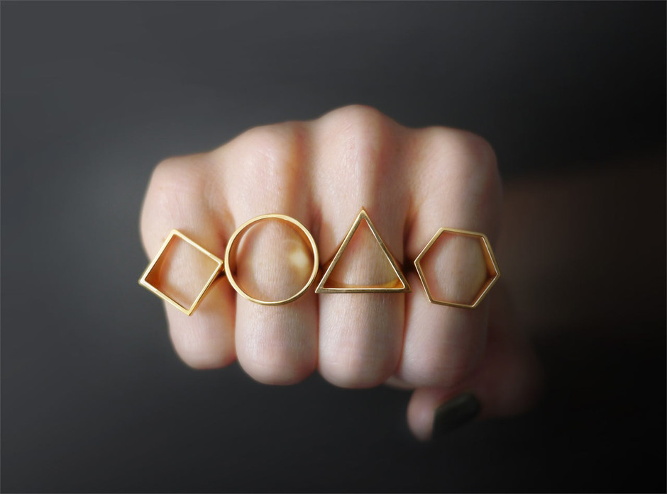 Geometric Silhouette Rings by OBJCTS - Design Milk