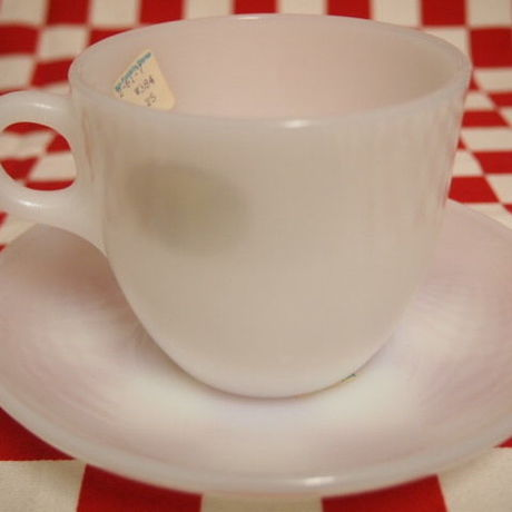 FIRE KING White 1700 Line St Denis Cup & Saucer (66) - 1 | Jadeite Magic Gallery