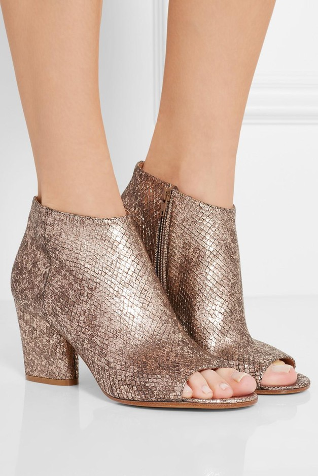 Maison Margiela | Metallic snake-effect leather ankle boots | NET-A-PORTER.COM