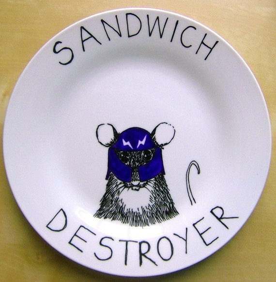 Hand Painted Side Plate Sandwich Destroyer by jimbobart on Etsy
