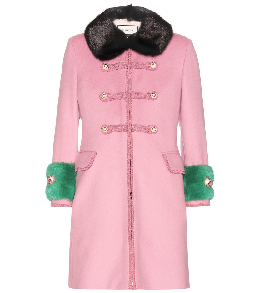 mytheresa.com - Mink fur-trimmed wool coat - Current week - New Arrivals - Luxury Fashion for Women / Designer clothing, shoes, bags