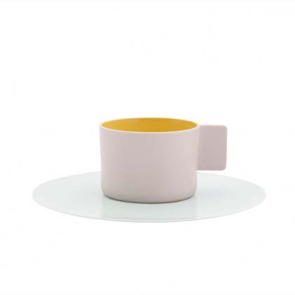 Colour Porcelain | cup and saucer s.b. 49 yellow pink light blue white | Scholten & Baijings