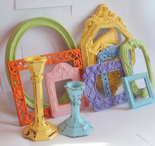 DIY / Spray paint thrift store finds with bright colors YES* YES* YES :)   We Heart It