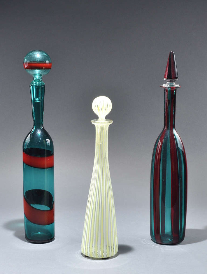 "VENINI - Design. Fulvio Bianconi - Bottle ""A fasce"" Circa 1955 at 1stdibs"