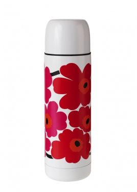 Marimekko Unikko Red and White Insulated Bottle in Kitchen and Table | Crate and Barrel