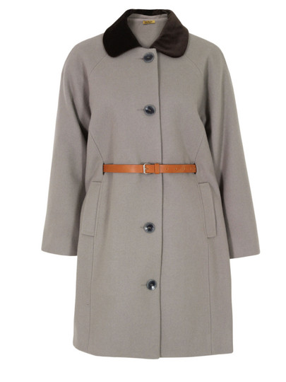 Peter Jensen Velvet Collar Taupe Coat at Coggles