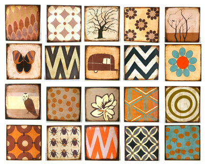 Art Block Trio 5x5- Mix And Match - You CHOOSE Any 3 Designs Personalize Custom Wood Brown Rust Sepi | Luulla