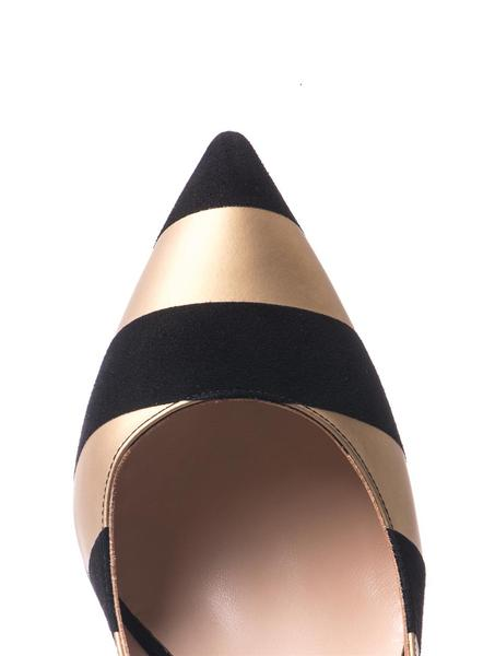 Leather and suede stripe point-toe pumps | Nicholas Kirkwood |...