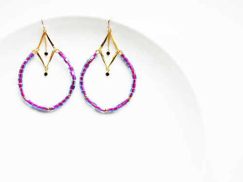 Japanese Purple&Navy Square Glass Hoop Earrings by OstaraTokyo