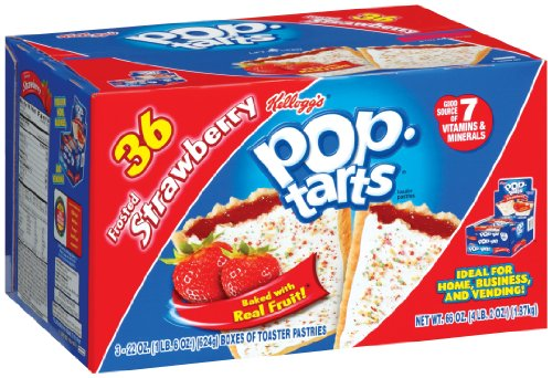 Pop-Tarts Toaster Pastries, Frosted Strawberry, 36-Count Box: Amazon.com: Grocery & Gourmet Food