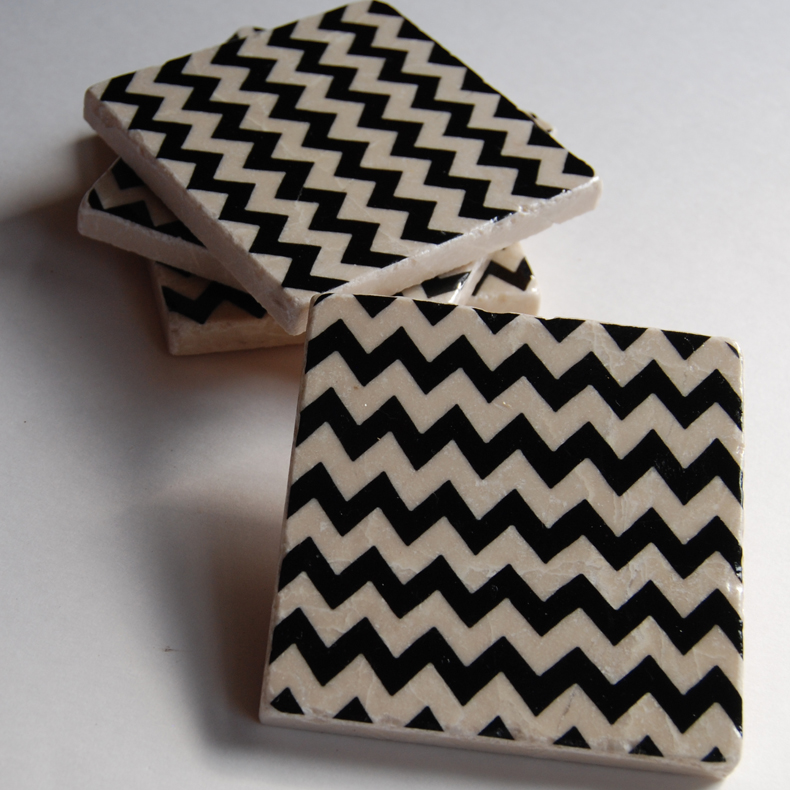 Black Chevron Coasters | Luulla