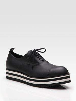 Comme des Garcons - Striped Leather Oxfords - Saks.com
