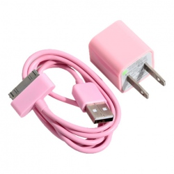 Mini 2 in 1 Charger Kit (US Standard USB Power Apdater + USB Cable) for iPhone 4/4S/3GS/3G (Pink) China Wholesale - Everbuying.com