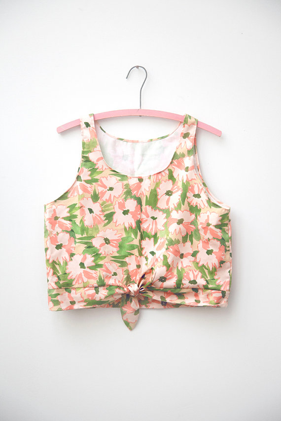 Floral TieFront Crop Tank by leahgoren on Etsy