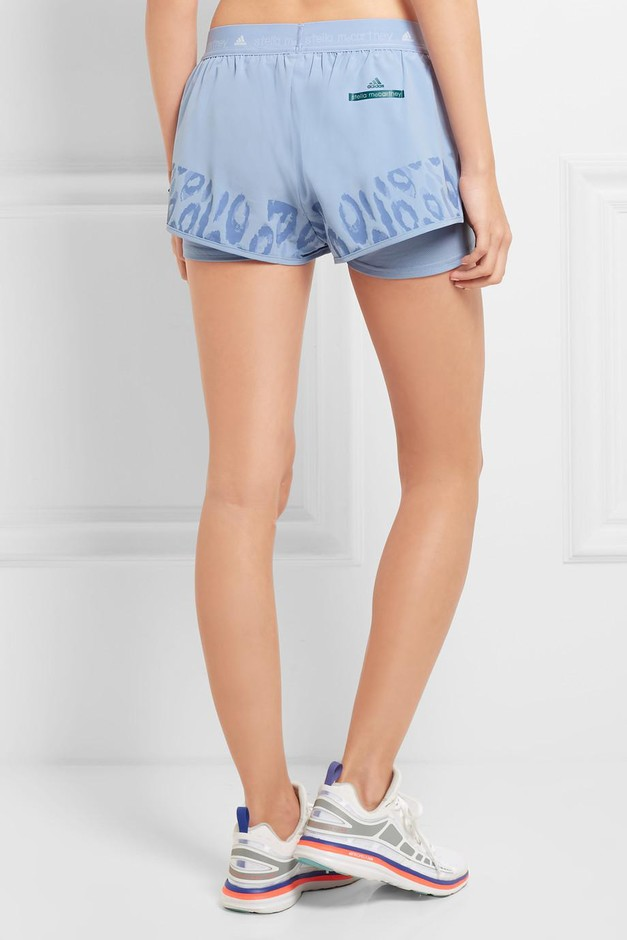 2a87b81a91df ... Adidas by Stella McCartney | Studio leopard-print Climalite® shell and mesh  shorts ...