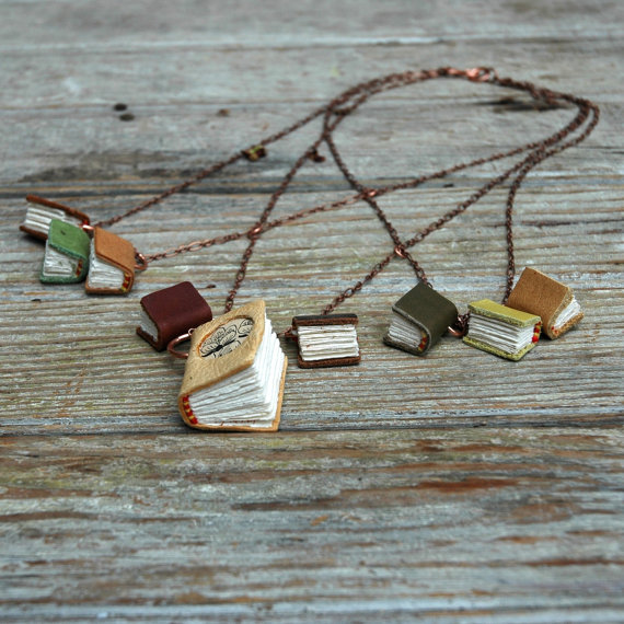 Spring Library Book Necklace 9 antique and scrap by PegandAwl