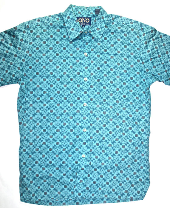 Vintage early 90s Teal Button Up Shirt Mens by VintageMensGoods