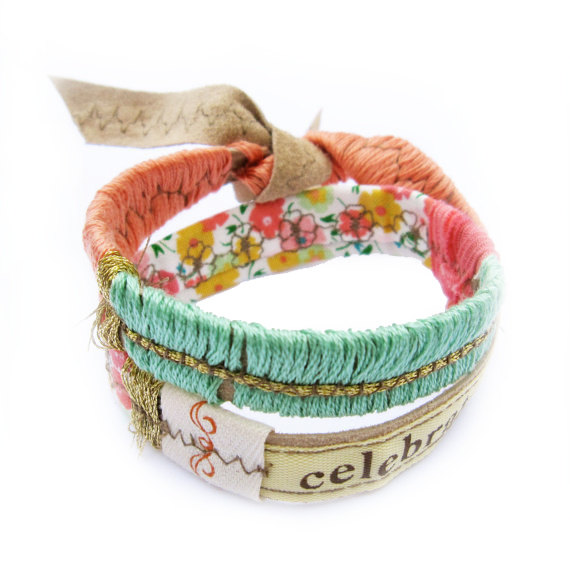 Leather Bracelet Double Wrap Spring Floral Colors by MiaElise