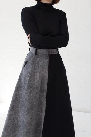 Cow Person Skirt in Black/Acid Wash