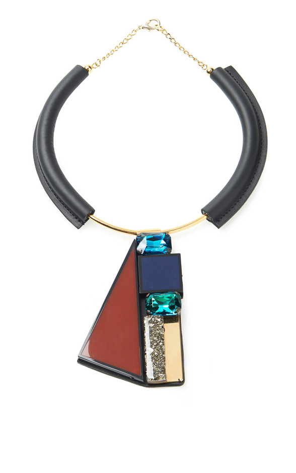 Leather Covered Choker With Stone Pendant by Marni - Moda Operandi