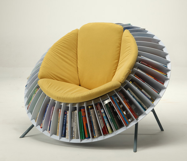 Ingenious sunflower themed chair with integrated bookcase [600x517] - Imgur