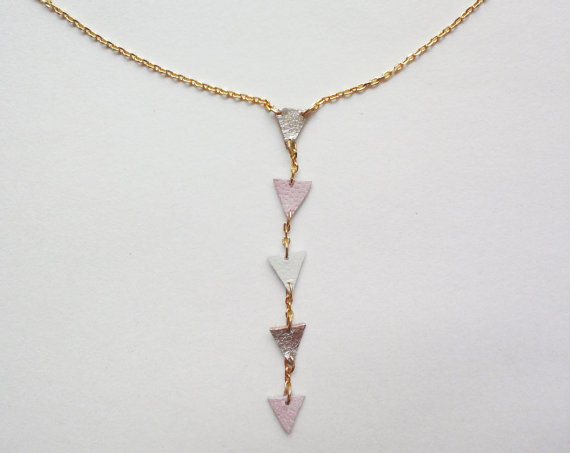 geometric leather necklace in pink & gold free by QUOLIAL on Etsy