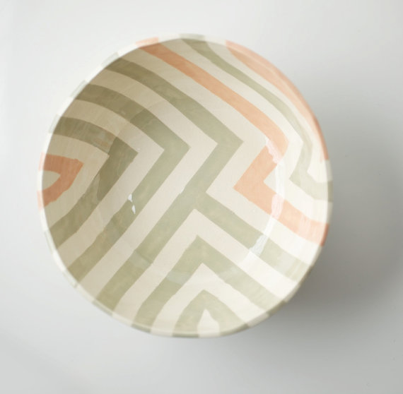 Grey & Peach Zag Bowl by upintheairsomewhere on Etsy