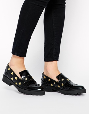 Miista | Miista Randi Embossed Bees Flat Loafers at ASOS