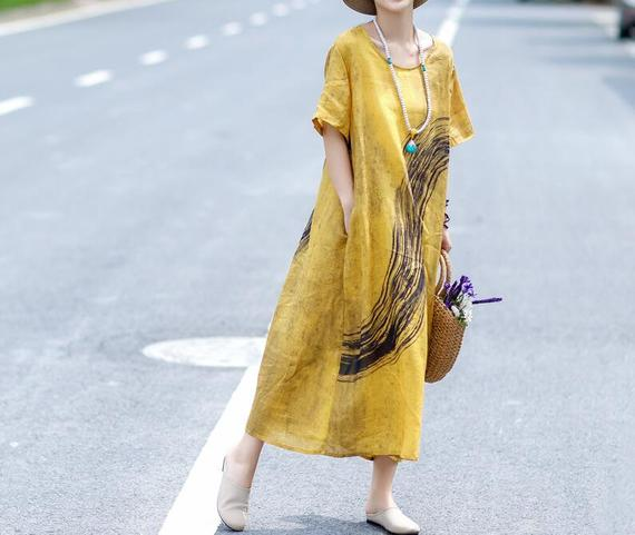Yellow linen dress maxi linen dress in green short sleeved | Etsy