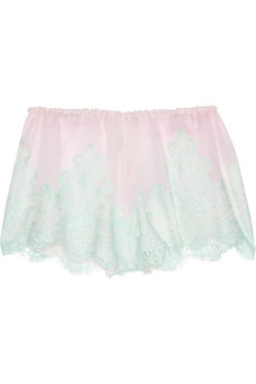 Rosamosario | Caramella lace and silk-georgette shorts | NET-A-PORTER.COM