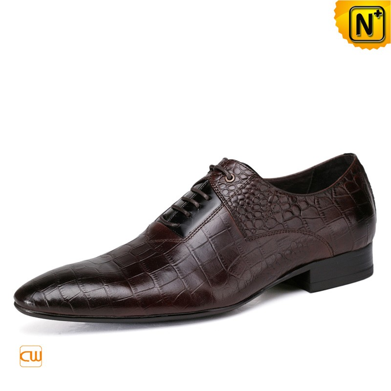 Mens Oxford Leather Derby Shoes Brown CW762015