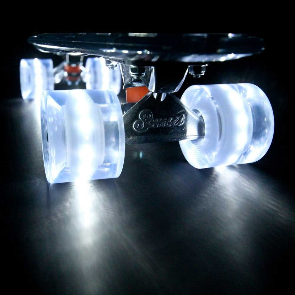 """The Sunset """"Ghost"""" (Clear Deck with White Flare LED Wheels)"""