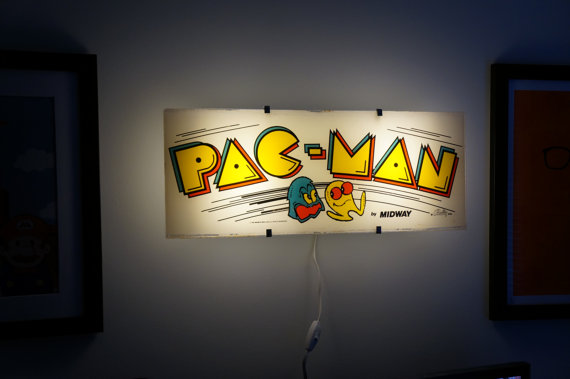 Vintage PacMan Arcade Marquee Wall Light by ArcadeLights on Etsy