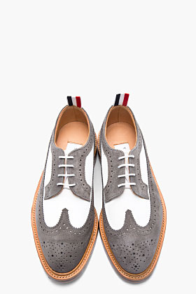 Thom Browne White Nubuck Grey Suede Longwing Brogues for men | SSENSE
