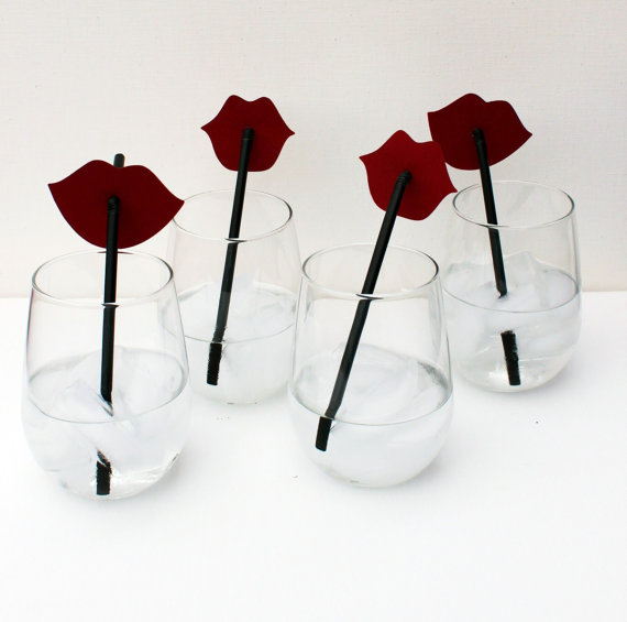 Photo Prop Set of Four Ruby Red Lips on Straws by LittleRetreats