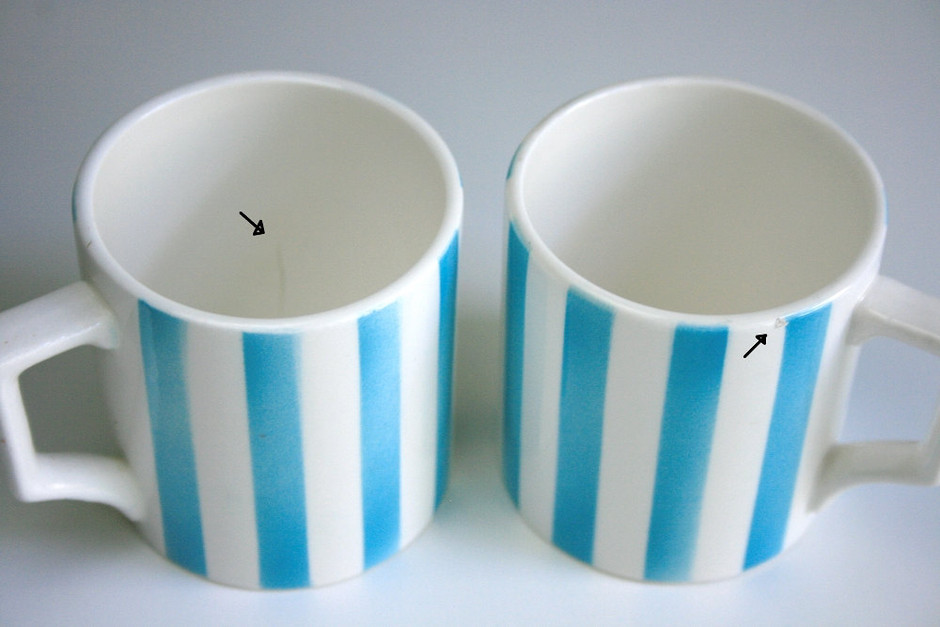 Aqua Striped Coffee Pot and Mugs by WiseApple on Etsy