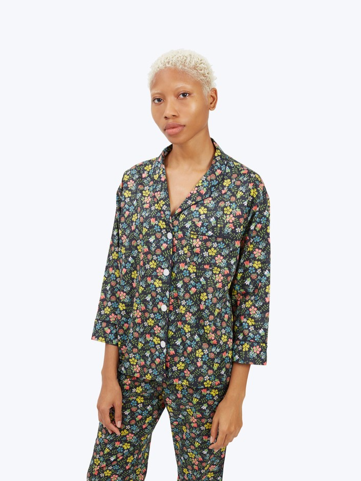 Marina Pajama Shirt Navy Liberty Edenham Floral - Women's Tops | Sleepy Jones
